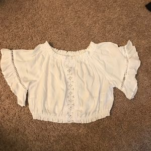 NWT H&M White Flirty Crop Top